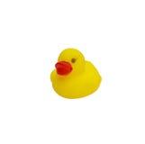 Śliczna żółta gumowa kaczka odizolowywająca Zdjęcia Stock