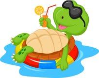 Śliczna żółw kreskówka na nadmuchiwanym round Zdjęcia Stock