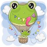 Śliczna żaba lata na gorące powietrze balonie royalty ilustracja