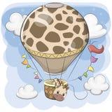 Śliczna żyrafa lata na gorące powietrze balonie royalty ilustracja