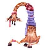 Śliczna akwareli zimy żyrafa ilustracja wektor