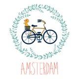 Śliczna Amsterdam karta z psem w bycicle koszu wewnątrz Obrazy Royalty Free