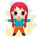 Śliczna anime chibi mała dziewczynka Prosty kreskówka styl również zwrócić corel ilustracji wektora Fotografia Stock
