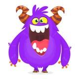 Śliczna błękitna potwór kreskówka z śmiesznym wyrażeniem Halloweenowa wektorowa ilustracja gruba owłosiona błyszczka lub gremlin  ilustracja wektor