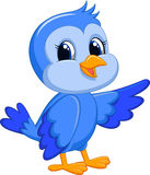 Śliczna błękitna ptasia kreskówka Obraz Royalty Free