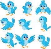 Śliczna błękitna ptasia kreskówka Obrazy Royalty Free