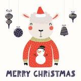 Śliczna barania kartka bożonarodzeniowa ilustracja wektor