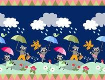 Śliczna bezszwowa granica z bajka parasolami i szop pracz ilustracja wektor