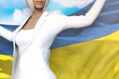 Śliczna biznesowa dama trzyma Ukraina flagę w rękach za ona z powrotem na niebieskiego nieba tle - chorągwiana pojęcia 3d ilustra ilustracja wektor