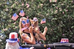 Śliczna blondynka, Yorkshire terier i kukła, jesteśmy zakrywającym głową stawać z flaga amerykańskimi obraz royalty free