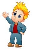 Śliczna blondynki chłopiec falowania ręka ilustracja wektor