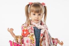 Śliczna blondynki dziewczyna w błękit sukni Obraz Royalty Free