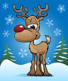 Śliczna Bożenarodzeniowa Wakacyjna Czerwona nosa renifera ilustracja Zdjęcie Stock