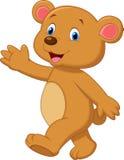 Śliczna brown niedźwiedzia kreskówki falowania ręka Zdjęcia Stock