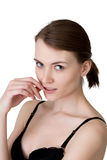 Śliczna brunetka z zdrową skórą pozuje przy kamerą Zdjęcia Stock