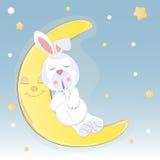 Śliczna catoon zając który śpi na księżyc Fotografia Stock
