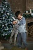 Śliczna chłopiec ściska zabawkarskiego rogacza Fotografia Royalty Free