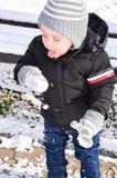Śliczna chłopiec bawić się z śniegiem Fotografia Stock