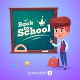 Śliczna chłopiec blisko blackboard ilustraci tylna szkoła Zdjęcia Royalty Free