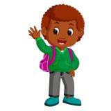 Śliczna chłopiec iść szkolna kreskówka Zdjęcie Stock
