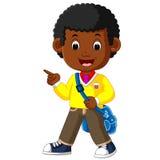 Śliczna chłopiec iść szkolna kreskówka Zdjęcia Stock