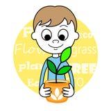 Śliczna chłopiec i roślina Zdjęcia Stock