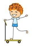 Śliczna chłopiec na hulajnoga royalty ilustracja