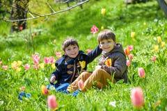 Śliczna chłopiec pośrodku purpurowy tulipanu pole fotografia royalty free