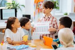Śliczna chłopiec pokazuje stół szturmany zdjęcia royalty free