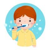 Śliczna chłopiec szczotkuje jego zęby ilustracja wektor