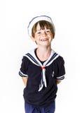Śliczna chłopiec ubierająca w żeglarza kostiumu Obraz Stock
