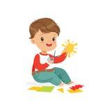 Śliczna chłopiec utting zastosowanie wyszczególnia, żartuje twórczość, edukację i rozwój dziecka, kolorowy charakteru wektor royalty ilustracja