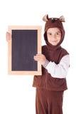 Śliczna chłopiec w niedźwiadkowym kostiumu Fotografia Royalty Free