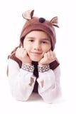 Śliczna chłopiec w niedźwiadkowym kostiumu Zdjęcie Stock