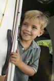 Śliczna chłopiec w RV Fotografia Royalty Free