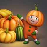 Śliczna chłopiec w wakacyjnym dyniowym kostiumu pokazuje banie wypiętrza, sezonowa żniwo ilustracja ilustracji
