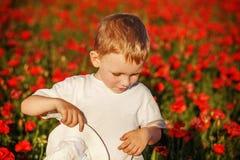 Śliczna chłopiec z makowym kwiatem na maczka polu na letnim dniu Fotografia Stock