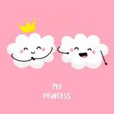 Śliczna chmura śpiewa dla obłocznego Princess Mieszkanie styl również zwrócić corel ilustracji wektora Obrazy Stock