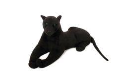 Śliczna czarnej pantery miękkiej części zabawka z długim ogonem kłama Zdjęcie Royalty Free