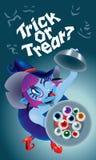 Śliczna czarownica trzyma talerza gałki oczne Z strasznym tłem Fotografia Royalty Free