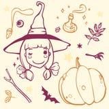 Śliczna czarownica z Halloweenowym materiałem Zdjęcie Royalty Free
