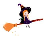 Śliczna czarownica z kota Halloween szczęśliwym tłem royalty ilustracja