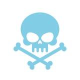 Śliczna czaszka z kościami miód, miły błękit głowy kościec Logo, emb Zdjęcie Royalty Free