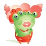 Śliczna czerwieni głowa jaskrawa - zielona dżdżownica patrzeje flirty Fotografia Royalty Free