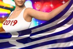 Śliczna dama trzyma Grecja flagę w przodzie na partyjnych światłach - bożych narodzeń i 2019 3d nowego roku pojęcia chorągwiana i ilustracja wektor