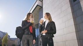 Śliczna dwa nastoletniej dziewczyny w eleganckich ubraniowych clinking szkłach i pić świeżego sok wewnątrz outdoors Bestfriends,  zbiory wideo