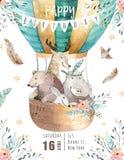 Śliczna dziecko pepiniera na balonie odizolowywał ilustrację dla dzieci Artystyczny akwarela czecha niedźwiedź, kota hipo i rogac Fotografia Royalty Free