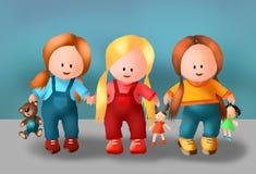 Śliczna dziewczyna dla dzieciaków i zabawka dzieciaków dzieci radosnej książki, śliczne dziewczyny, śliczne, dzieci żartuje, zaba ilustracji