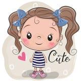 Śliczna dziewczyna na beżowym tle ilustracji