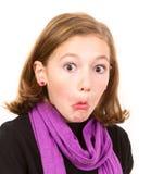 Śliczna dziewczyna robi śmiesznej twarzy Obraz Stock